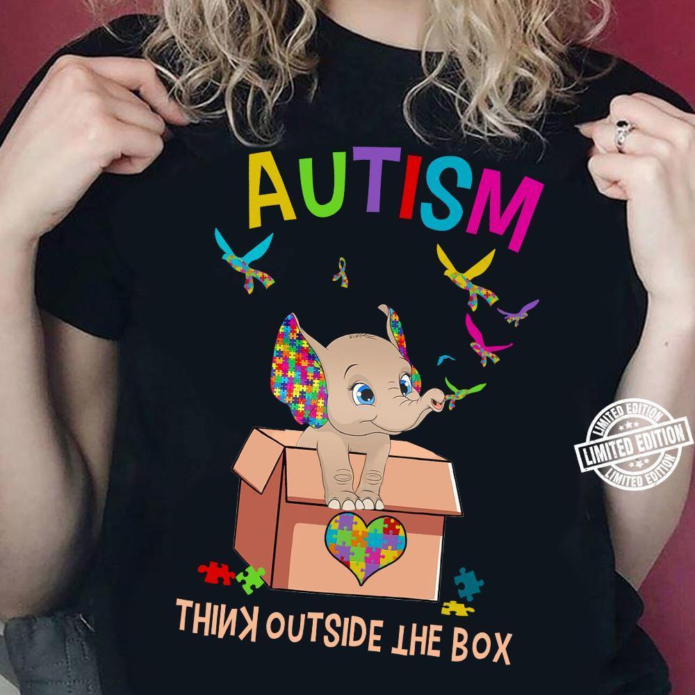 Elephant autism think outside the box shirt