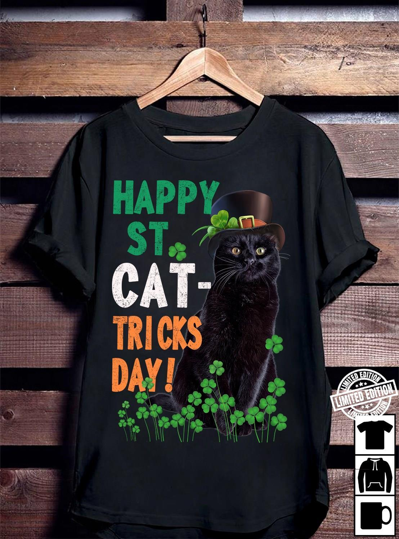 Happy st cat-tricks day black cat shirt